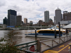 Brisbane river with citycat and central library in view
