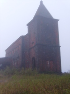 old Catholic Church wreathed in mist