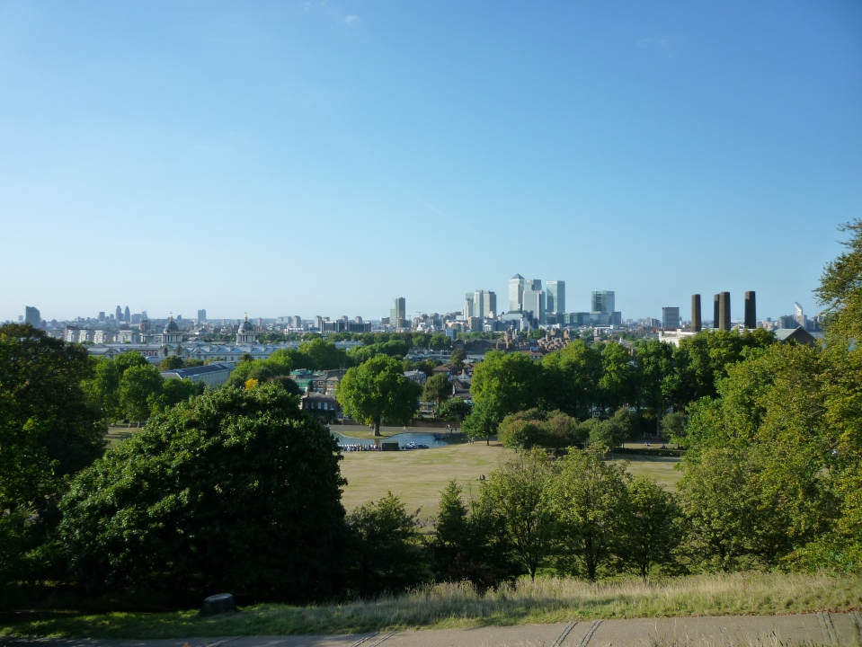 view from One Tree Hill (Canary Wharf skyscrapers to the right)