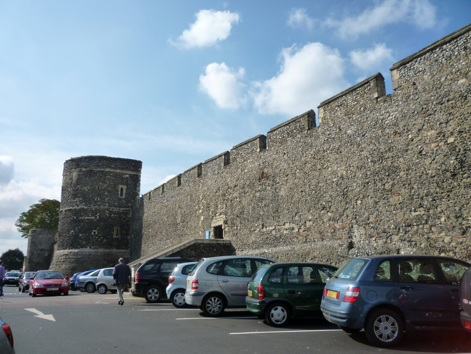 The old city walls, now part of a carpark