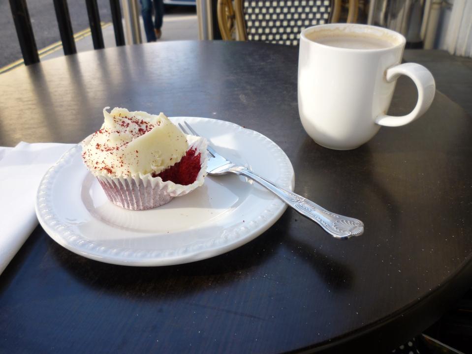 Hummingbird cake and coffee